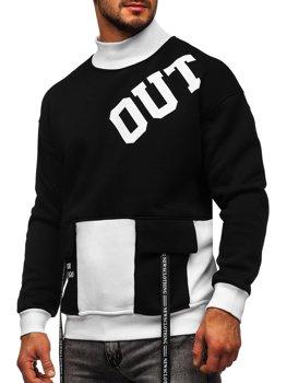Čierna/biela pánska mikina bez kapucne s potlačou Bolf 0001