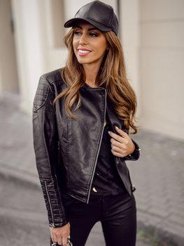Čierna dámska koženková bunda sidovka Bolf BF5935502