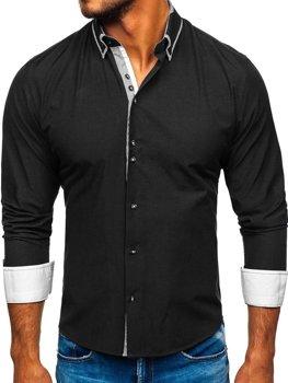 Čierna pánska elegantá košeľa s dlhými rukávmi BOLF 6929-A