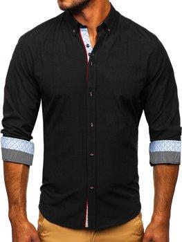 Čierna pánska elegantá košeľa s dlhými rukávmi BOLF 8839