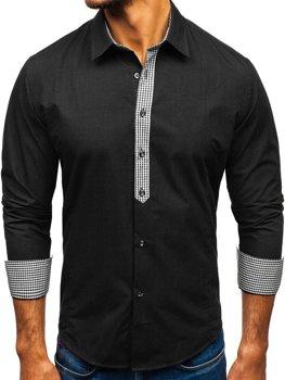 Čierna pánska elegantná košeľa s dlhými rukávmi BOLF 0939