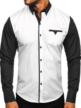 Čierna pánska elegantná košeľa s dlhými rukávmi Bolf 5726-1