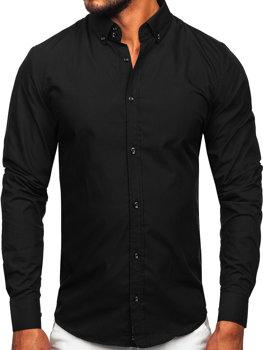 Čierna pánska elegantná košeľa s dlhými rukávmi Bolf 5821-1