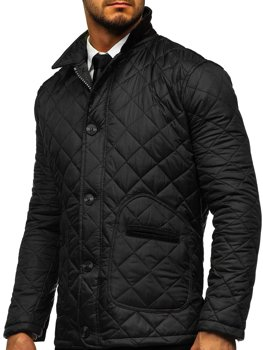 Čierna pánska elegantná prechodná husky bunda Bolf 0003