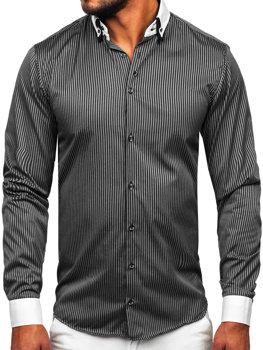 Čierna pánska elegantná pruhovaná košeľa s dlhými rukávmi BOLF 0909