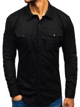 160a9538572e Čierna pánska košeľa s dlhými rukávmi BOLF 2058-1