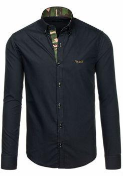 Čierna pánska košeľa s dlhými rukávmi BOLF 6850