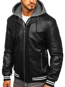 Čierna pánska koženková bunda Bolf  1133