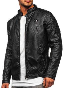 Čierna pánska koženková bunda Bolf 5916309