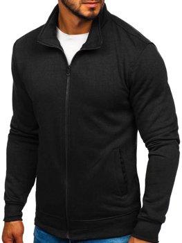 Čierna pánska mikina na zips bez kapucne Bolf B002