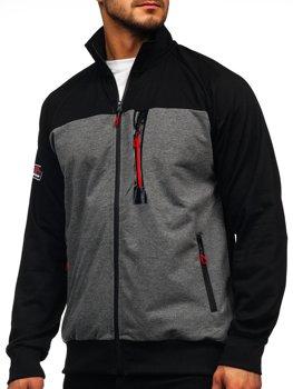 Čierna pánska mikina na zips bez kapucne Bolf JX9892