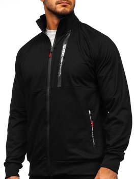 Čierna pánska mikina na zips bez kapucne Bolf JX9919