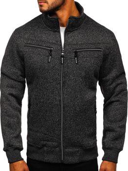 Čierna pánska mikina na zips bez kapucne Bolf TC517