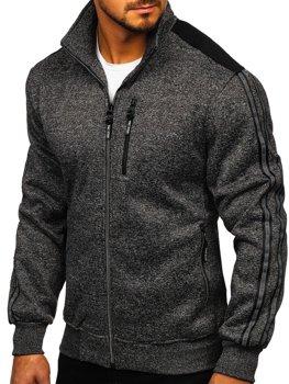 Čierna pánska mikina na zips bez kapucne Bolf TC976