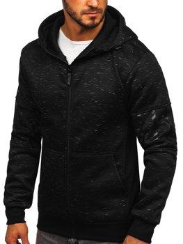 Čierna pánska mikina na zips s kapucňou Bolf 80581