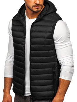 Čierna pánska prešívaná vesta s kapucňou Bolf LY36
