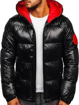 Čierna pánska prešívaná zimná bunda Bolf  99311