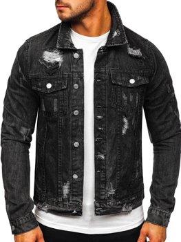 Čierna pánska rifľová bunda Bolf AK588