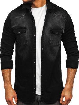 Čierna pánska riflová košeľa s dlhými rukávmi Bolf R704