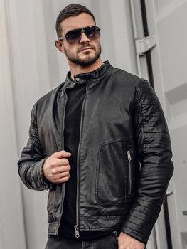 Čierna pánska zateplená motorkárska koženková bunda Bolf 92531