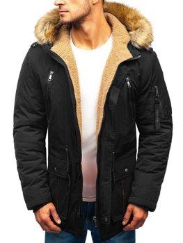 Čierna pánska zimná bunda parka BOLF 1072 2bf15bb8930