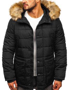 Čierna pánska zimná bunda parka alaska Bolf JK361