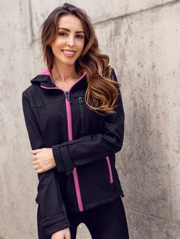 Čierna/ružová dámska softshellová prechodná bunda Bolf HH018
