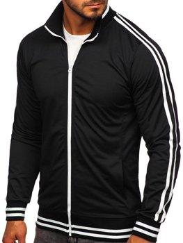 Čierne pánska mikina na zips bez kapucne retro style Bolf 11113