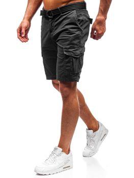 Čierne pánske kapsáčové kraťasy s opaskom BOLF 5611-A