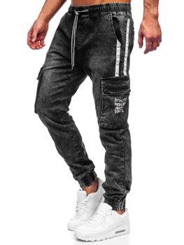 Čierne pánske riflové jogger kapsáče Bolf TF054