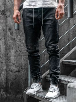 Čierne pánske rifľové joggery Bolf  KA1078