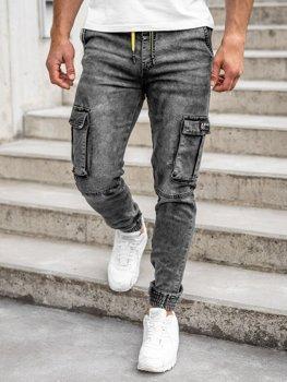 Čierne pánske rifľové kapsáčové joggery Bolf HY687