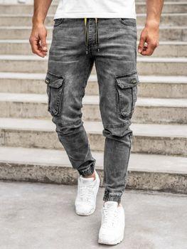 Čierne pánske rifľové kapsáčové joggery Bolf HY689