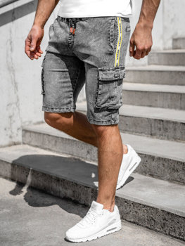 Čierne pánske riflové kapsáčové šortky Bolf HY855