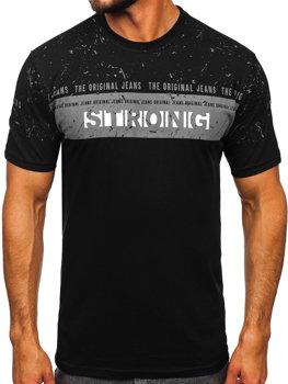 Čierne pánske tričko s potlačou BOLF 14204