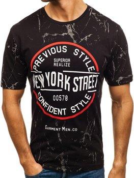 8e831d0a9efc Čierne pánske tričko s potlačou BOLF 6301