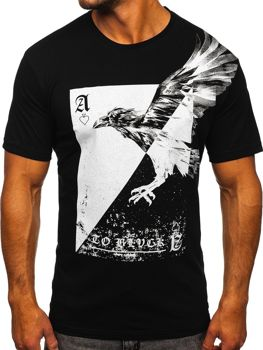 Čierne pánske tričko s potlačou Bolf 142171