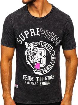 Čierne pánske tričko s potlačou Bolf HFM015