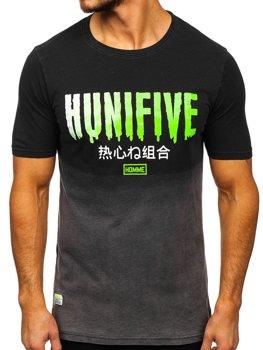 Čierne pánske tričko s potlačou Bolf HFM016