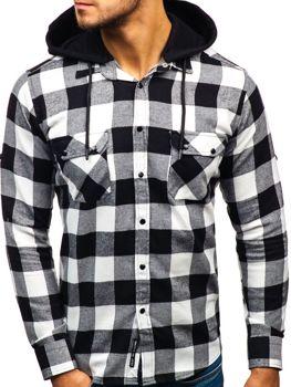 Čierno-biela pánska flanelová košeľa s dlhými rukávmi BOLF 1031