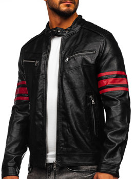 Čierno-červená pánska koženková biker bunda Bolf BF59359