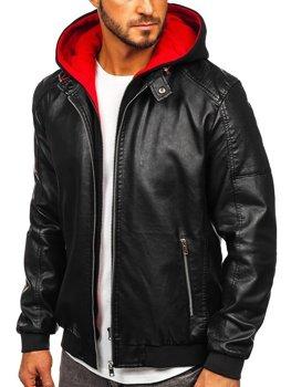 Čierno-červená pánska koženková bunda s kapucňou Bolf 6132