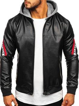 Čierno-červená pánska koženková bunda s kapucňou Bolf HY614