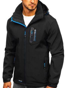Čierno-modrá pánska softshellová bunda Bolf P5608