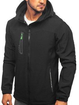 Čierno-zelená pánska softshellová bunda Bolf 12268