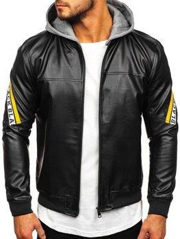 Čierno-žltá pánska koženková bunda s kapucňou Bolf HY614