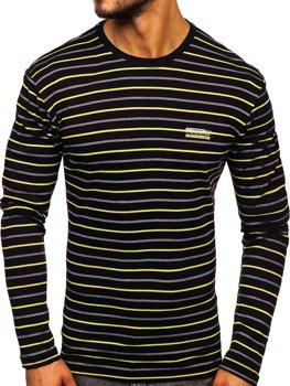 Čierno-žlté pánske prúžkované tričko s dlhými rukávmi Bolf 1519
