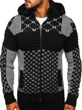 Čierny hrubý pánsky sveter/bunda so zapínaním na zips s kapucňou Bolf 2060