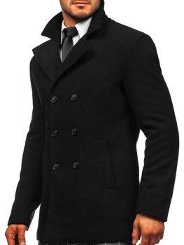 Čierny pánsky zimný dvojradový kabát s vysokým golierom Bolf 8078