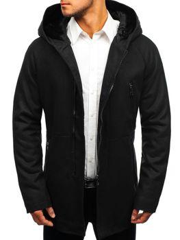 Čierny pánsky zimný kabát BOLF 3128